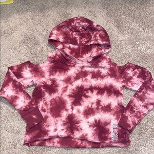 Girls justice 8 maroon tie dye crop hoodie